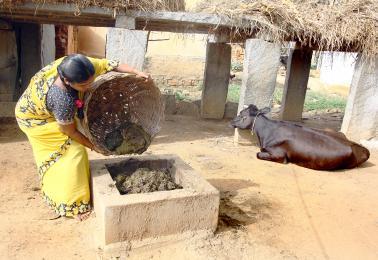 Vullen biogasinstallatie